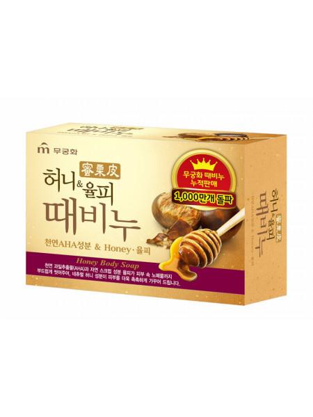 Косметическое мыло-скраб для тела с медом и каштаном Mukunghwa Honey & Chestnut Shell Exfoliating Body Soap