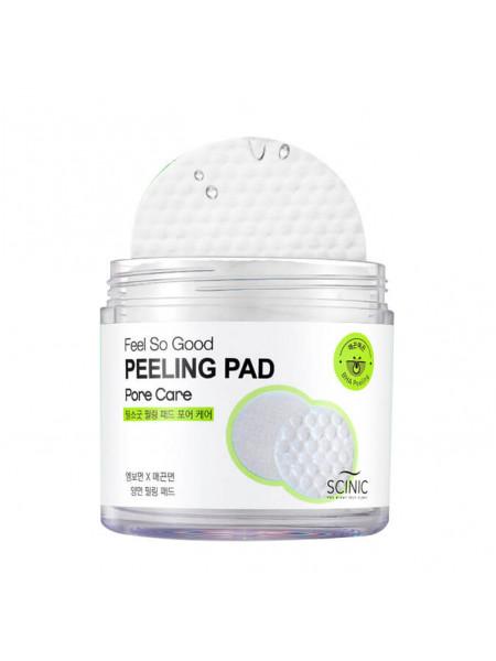 Очищающие пилинг-спонжи с PHA кислотами для сужения пор Scinic Feel So Good Peeling Pad