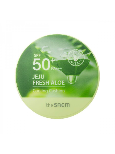 Освежающий солнцезащитный кушон с алоэ The Saem Jeju Fresh Aloe Cooling Cushion Natural Beige SPF50