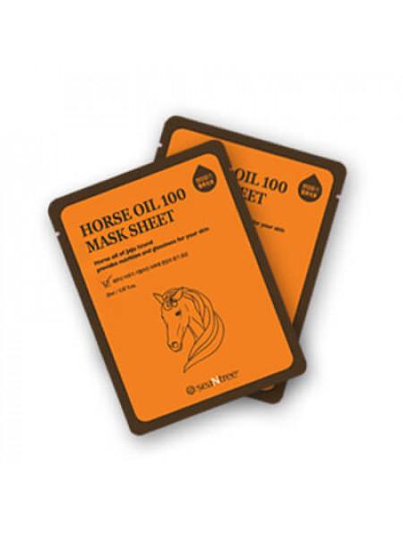 Высокопитательная тканевая маска для лица SeaNtree Horse Oil 100 Mask Sheet