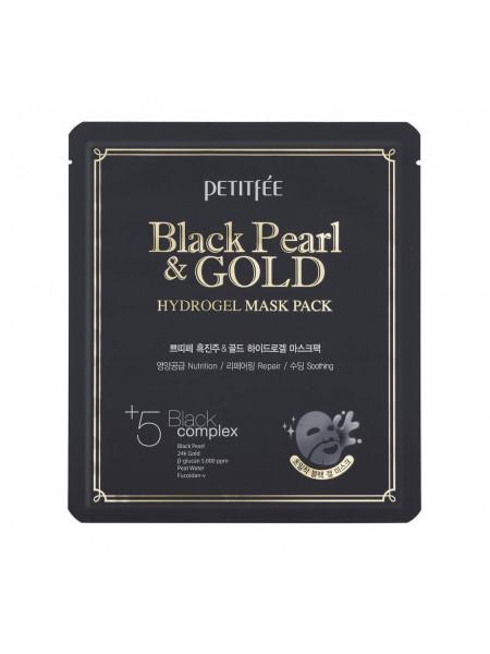 Гидрогелевая маска для лица с черным жемчугом Petitfee Black Pearl & Gold Hydrogel Mask Pack