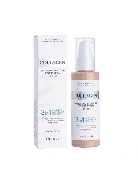 Тональный крем с коллагеном 3 в 1 для сияния кожи Enough Collagen Whitening Moisture Foundation SPF 15
