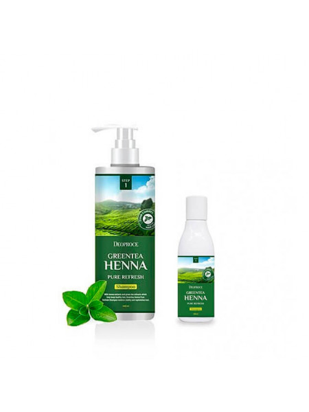 Шампунь для волос с зеленым чаем и хной Deoproce Greentea Henna Pure Refresh Shampoo
