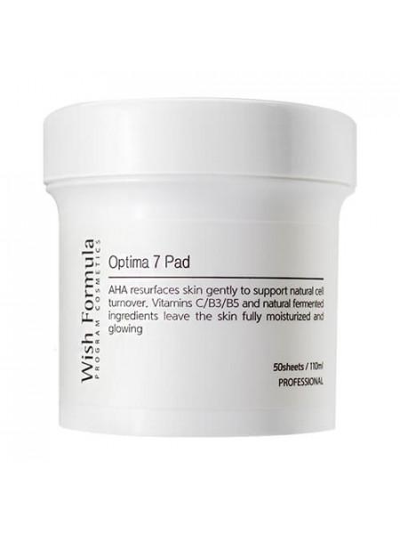 Глубоко очищающие пилинг-салфетки для лица c AHA и витаминами Wish Formula Optima 7 Pad