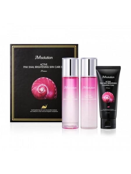 Набор для сияния кожи с муцином улитки JMsolution Active Pink Snail Brightening Skin Care Set Prime