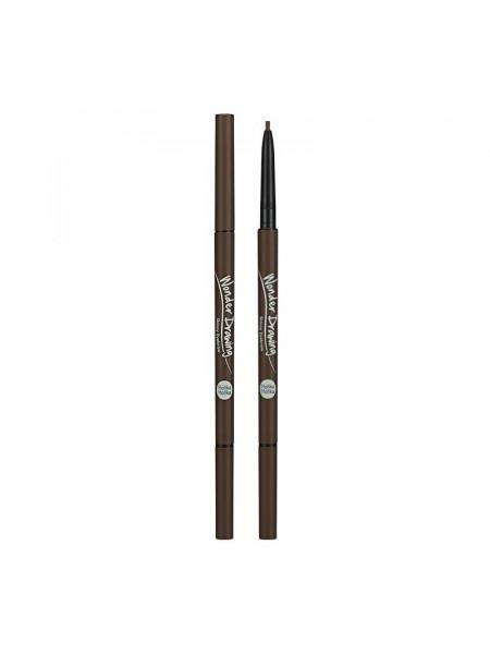 Карандаш для бровей Wonder Drawing Skinny Eye Brow 02 Dark Brown, тёмно-коричневый